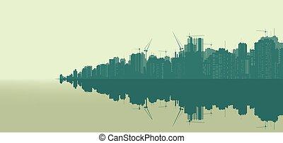 muito, grande, city..eps, paisagem, ilustração