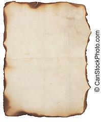 muito, queimado, bordas, antigas, papel