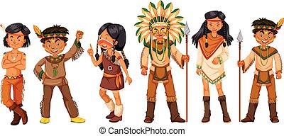 muitos, índios americanos, trajes, nativo
