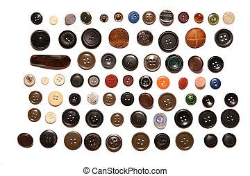 muitos, botões, isolado, branco
