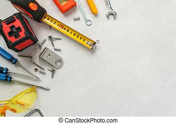 muitos, branca, ferramentas, fundo