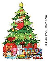muitos, brinquedos, árvore, natal, sob
