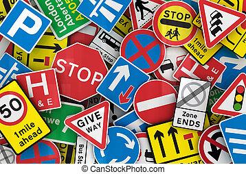 muitos, britânico, sinais tráfego