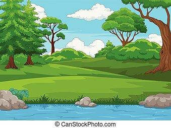 muitos, cena, árvores, ilustração, rio, floresta