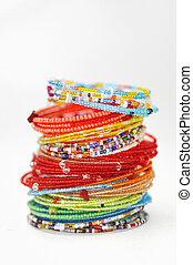 muitos, coloridos, moda, pulseiras