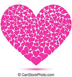 muitos, coração, formando, corações