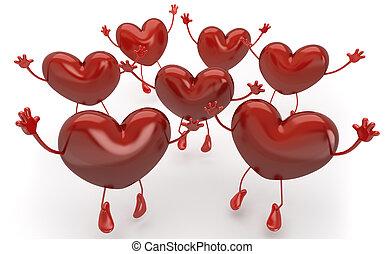 muitos, corações, pular, e, callling, para, ser, escolhido,...