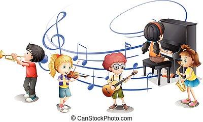muitos, crianças, música, jogando