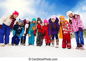 muitos, crianças, neve, junto, dia