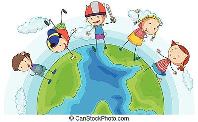 muitos, crianças, terra, ao redor, tocando