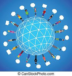 muitos, diferente, globo, pessoas