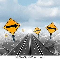 muitos, estradas, para, sucesso