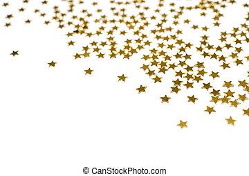 muitos, estrelas, dourado
