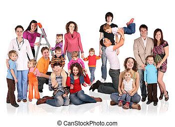 muitos, famílias, com, crianças, grupo, isolado, colagem