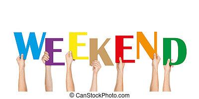 muitos, fim semana, segurando, coloridos, mãos