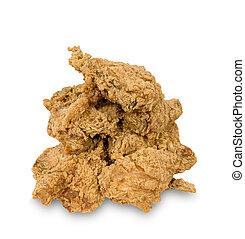 muitos, galinha, fritado, isolado, branca