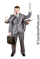 muitos, homem, negócio passa