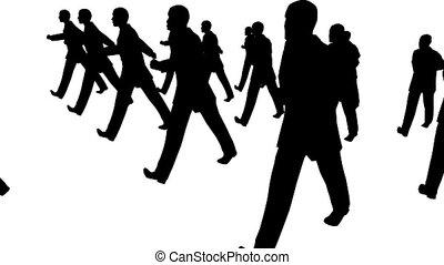 muitos, homem negócios, marchar