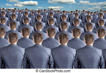 muitos, homens negócios, vista traseira