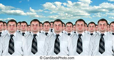 muitos, idêntico, homens negócios, clones