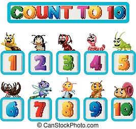 muitos, inseto, números, dez, um
