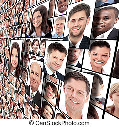 muitos, isolado, retratos, de, pessoas