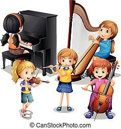 muitos, jogar crianças, música clássica