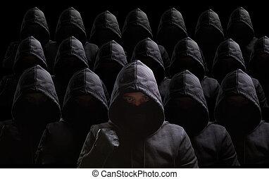 muitos, ladrões, ligado, experiência preta