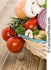 muitos, legumes, em, um, cesta