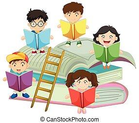 muitos, leitura, livros, crianças