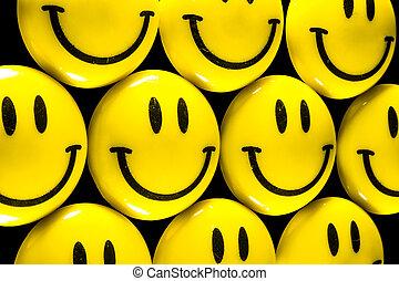 muitos, luminoso, amarela, smiley enfrentam