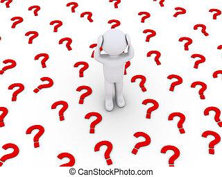 muitos, marca pergunta, símbolos, pessoa, cansado