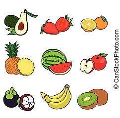 muitos, metade, frutas