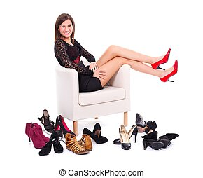 muitos, mulher, sapatos, dela