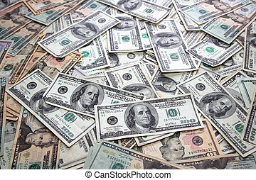 muitos, notas, dólar, notas, americano, contas, banco