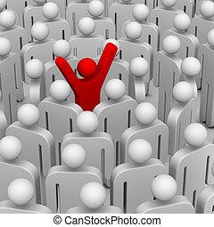 muitos, pessoas, ao redor, líder