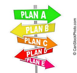 muitos, planos, repensando, estratégia, plano, um, b, c,...