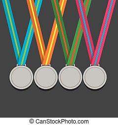 muitos, prata, fita, medalhas