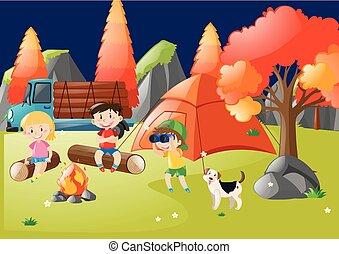 muitos, saída, floresta, acampamento, crianças