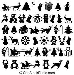 muitos, sombra, desenho, natal