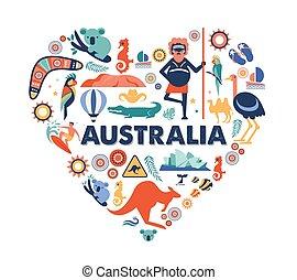 muitos, symbols., austrália, coração, ícones, vetorial, ilustração, desenho