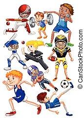 muitos, tipos, pessoas, esportes, diferente