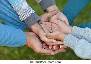 muitos, unidas, mãos