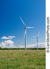 muitos, vento, geradores, em, campo, área