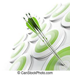 muitos, verde, alvos, e, três, setas, alcançar, a, centro,...