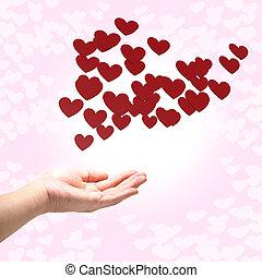 muitos, vermelho, corações, ligado, mão, fundo cor-de-rosa