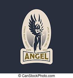 mujer, ángel, espada, hands., ella