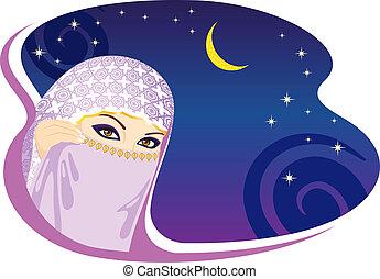 mujer, árabe, night., musulmán