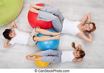 mujer, abdominal, gimnástico, entrenamiento, -, niños, ...