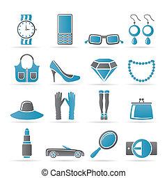 mujer, accesorios, hembra, iconos